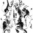 Stock Photo: Dancing devils, ink drawing