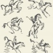 Equestrian sport - show jumping. Jockey riding a horse — Stockvectorbeeld