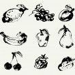 Set of fruits — Stockvectorbeeld