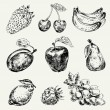 Set of fruits — Stockvektor