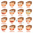 Stock Vector: Emotions. Cartoon facial expressions set