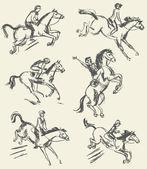 Sports équestres - saut d'obstacles. jockey monté sur un cheval — Vecteur