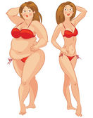 Fat and thin woman — Vector de stock