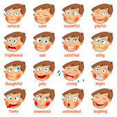 Emoties. cartoon gezichtsuitdrukkingen set — Stockvector