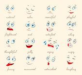 Emotions. Cartoon facial expressions — Stock Vector