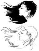 Beautiful girl with long hair — Stock Vector