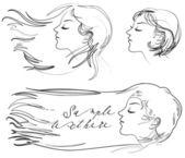 Hair fluttering wind — Stock Vector