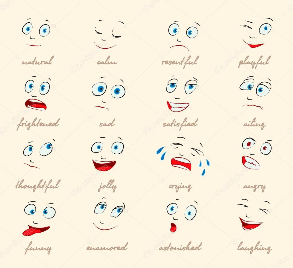 Emotions. Cartoon facial expressions — Stock Vector ...