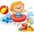 Happy child playing with sand at the beach in summer — Stock Vector