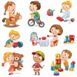 Stock Vector: Children play with toys