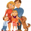 Stock Vector: Happy family of four and two pets