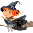 Little witch flying on a broom — Stock Vector