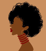 African woman in profile — Stock Vector