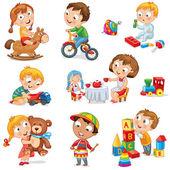 τα παιδιά παίζουν με τα παιχνίδια — Διανυσματικό Αρχείο