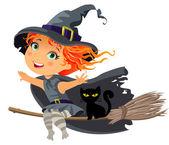 Mała czarownica, latanie na miotle — Wektor stockowy