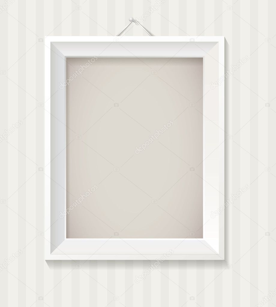 White empty frame hanging on the wall stock vector for Hanging frames on walls