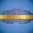 Gold antique frame on blue decorative background — Imagens vectoriais em stock
