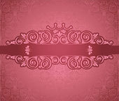 Vintage pink frame on damask background — Stock Vector