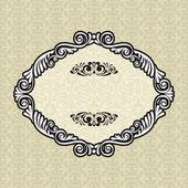 Vintage frame on damask background — Stok Vektör