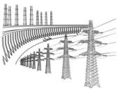 Power Transmission Line — Stock Vector