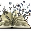 Stockfoto: Open book with falling letters