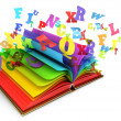 Letters flying out of an open book. Magic book. Fairy tale. White background. 3d render — Stock Photo