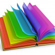 Open book with colorful pages. White background. 3d render - Stock Photo