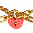 Padlock in a heart-shaped. Gold chain. Isolated on white background. Conceptual illustration. 3d render — Stock Photo #17832919