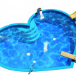 Stock Photo: Pool in form of heart. 3D Illustration of Swimming Pool