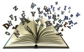 Open book with falling letters — Stock Photo