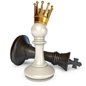 Pawn with a golden crown — Stock Photo