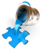 Paint fill a container in the form of a puzzle — Stock Photo
