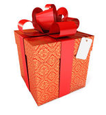 Gift with a red ribbon and a bow — Stock Photo