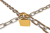 Crossed chains with lock — Stock Photo