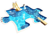 Pool in the form of a puzzle — Stock Photo