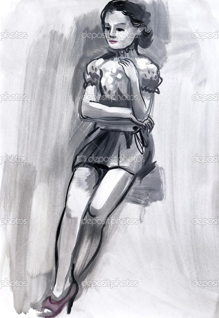 女性人物素描