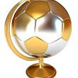 Gold Cup winner as a soccer ball and globe — Stock Photo #37869575