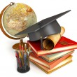 Постер, плакат: Graduation cap diploma stack of books globe and various colo