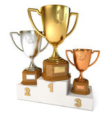 Gold, silver and bronze cup — Stock Photo