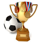 Gold Cup with medals and soccer ball — Foto Stock