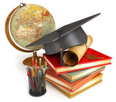 Graduation cap, diploma, stack of books, globe, and various colo — Stock Photo