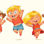 Children jump for joy. Banner — Stock Vector #37873709