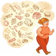 Fat woman dreams of high-calorie foods, goes for a jog — Stock Vector #37871979