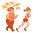 Young fat and thin woman jogging — Stock Vector