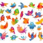Funny colorful birdies — Stock Vector