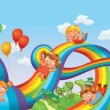 Stock Vector: Children slide down on rainbow. Roller coaster ride