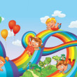 Children slide down on a rainbow. Roller coaster ride — Stock Vector