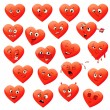 Valentine's set of heart emotions — Stock Vector