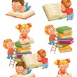 Children reading books in the library — Stock Vector