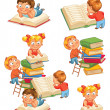 Children reading books in the library — Stock Vector #37873813